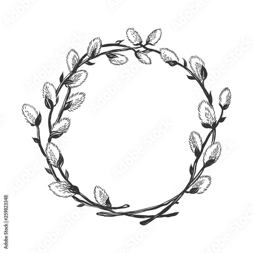 Fotografie, Tablou Hand drawn willow branch circle frame.