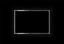 Silver Frame With Glitter On Dark Background