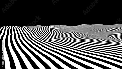 Abstract white striped wavy landscape. Sine line background. Simple ocean horizon op art with.