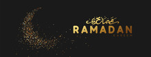 Ramadan Background. Design Is Sand With Golden Squeak Of Silhouette Half Month.