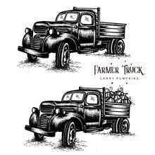 Old Farm Trucks Carry Pumpkins