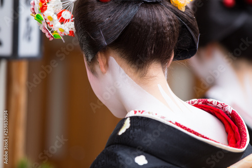 Fotografie, Tablou A traditional geisha out and about walking in Gion Kyoto Japan .