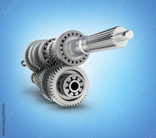 Vászonkép  Automotive transmission gearbox Gears inside on blue gradient background 3d rend