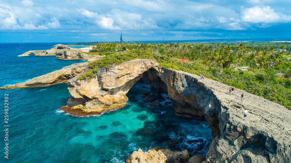 Fototapety, obrazy: Aerial view of Cueva del Indio. Rock formation. Hatillo. Puerto Rico.