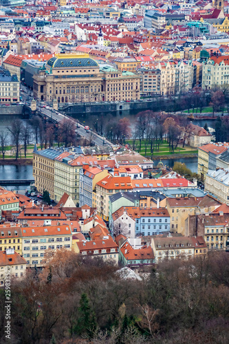 Fotografie, Obraz  Aerial view of the National Theater, Vltava river and surrounding buildings in P