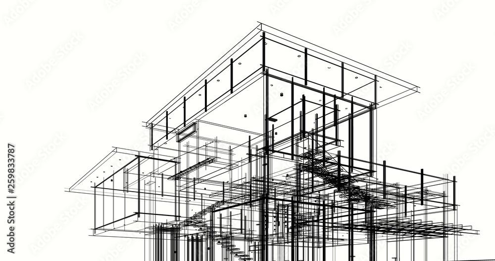Fototapeta  architectural drawing 3d illustration