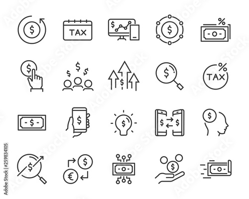 Fototapeta set of money icons, such as finance, statement, bank, coin, stock, currency, exchange obraz