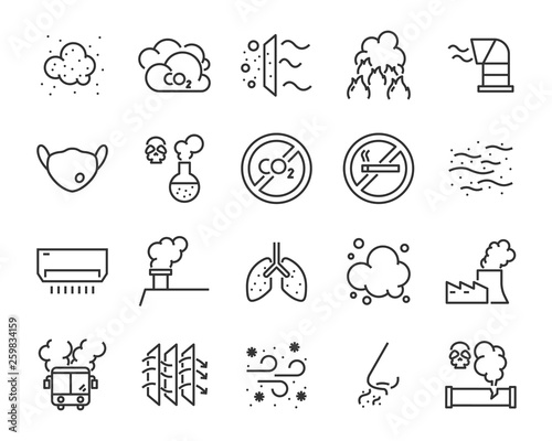 Fototapety, obrazy: set of air pollution icons, such as dust, carbon, toxic, air filter