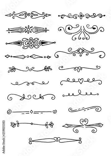 Fototapeta Hand Drawn set of doodle design elements, isolated on white background obraz na płótnie