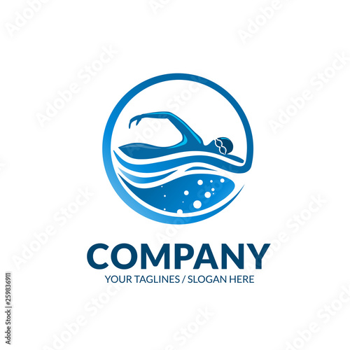 creative swimming club sport logo vector concept Fototapeta