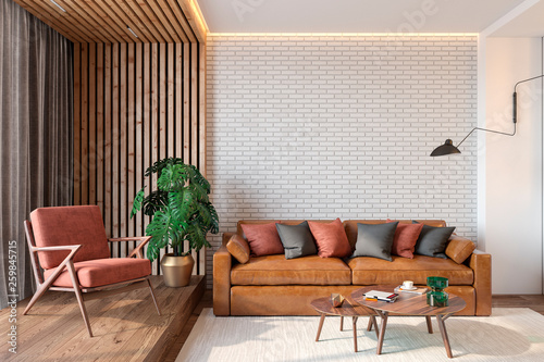 Modern living room interior with brick wall blank wall ...
