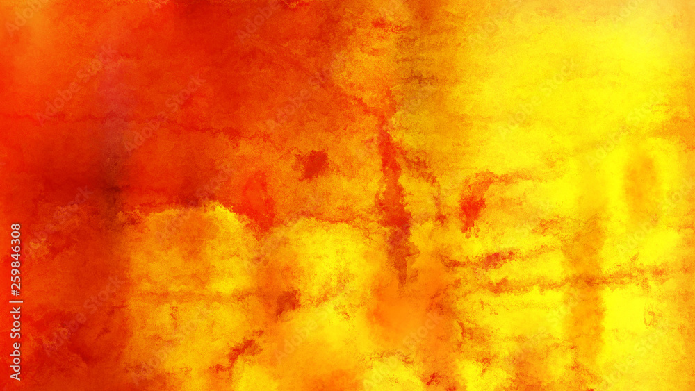 Fototapeta Red and Yellow Grunge Watercolour Background