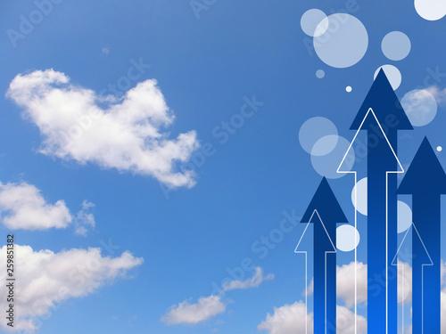 Vászonkép  矢印 成長 ビジネス背景 上向き 右肩上がり UP上向き