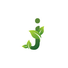 Eco Green Letter J Logo Design Template. Green Alphabet Vector Design With Green And Fresh Leaf Illustration.