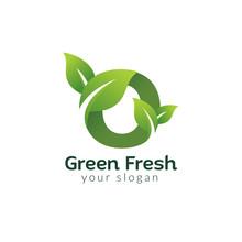 Eco Green Letter O Logo Design Template. Green Alphabet Vector Design With Green And Fresh Leaf Illustration.