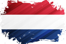 Flag Of The Netherlands Brush Stroke Background. National Flag Of The Kingdom Of The Netherlands. Vector Illustration.