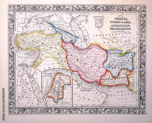 Fotografie, Obraz Old map. Engraving image