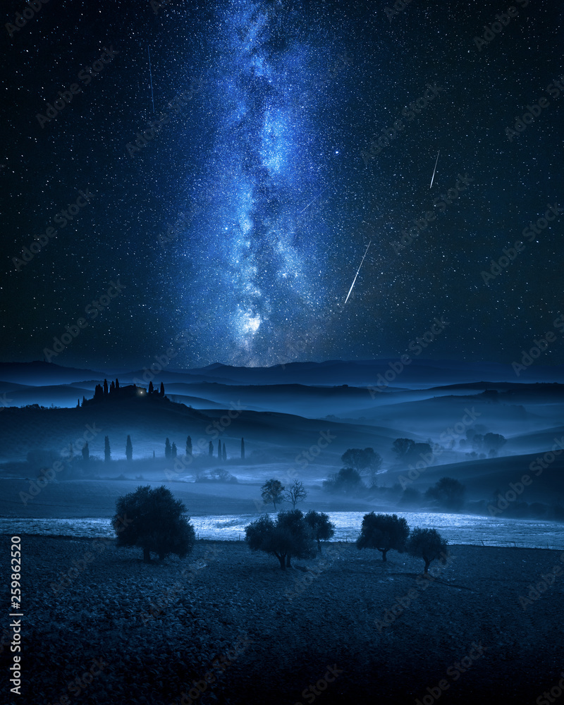 Fototapety, obrazy: Milky way and falling stars over valley in Italy