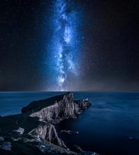 Milky Way Over Neist Point Lighthouse, Isle Of Skye, Scotland
