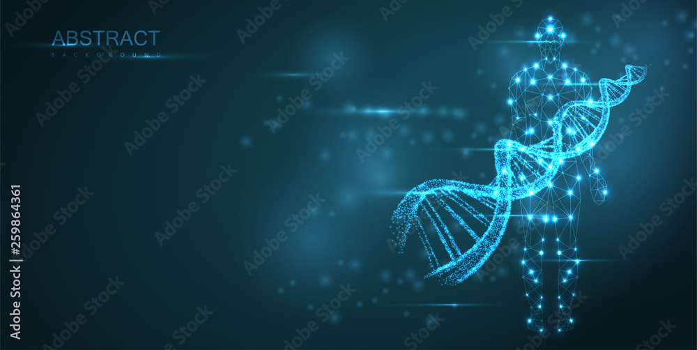 Fototapeta Blue abstract background with luminous DNA molecule, neon helix and human silhouette.