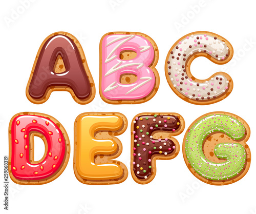 Photo Cookies with colorful icing abc letters set.