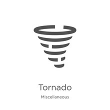 Tornado Icon Vector From Miscellaneous Collection. Thin Line Tornado Outline Icon Vector Illustration. Outline, Thin Line Tornado Icon For Website Design And Mobile, App Development