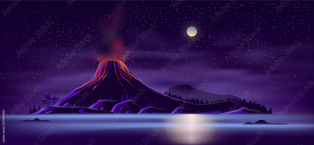 Fototapeta Sea or ocean desert, uninhabited island shore night landscape with active, ready for eruption volcano, mountain top fiery glowing in darkness cartoon vector illustration. Tectonic or volcanic activity
