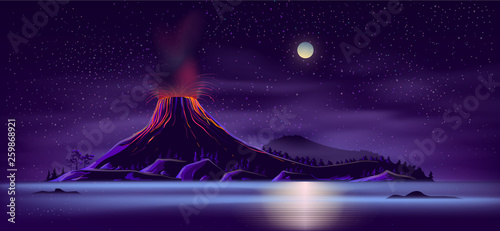 Fotomural Sea or ocean desert, uninhabited island shore night landscape with active, ready for eruption volcano, mountain top fiery glowing in darkness cartoon vector illustration