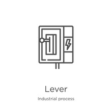 Lever Icon Vector From Industrial Process Collection. Thin Line Lever Outline Icon Vector Illustration. Outline, Thin Line Lever Icon For Website Design And Mobile, App Development