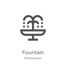 Fountain Icon Vector From Miscellaneous Collection. Thin Line Fountain Outline Icon Vector Illustration. Outline, Thin Line Fountain Icon For Website Design And Mobile, App Development