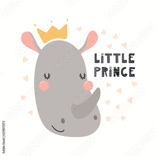 Printed kitchen splashbacks Illustrations Hand drawn vector illustration of a cute funny rhino in a crown, with lettering quote Little prince. Isolated objects on white background. Scandinavian style flat design. Concept for children print.