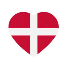 Flag Of Denmark In Heart Shape...