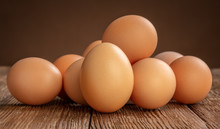 Pile Of Chicken Eggs On Wooden...