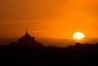 canvas print picture - Mont Saint-Michel im Sonnenuntergang
