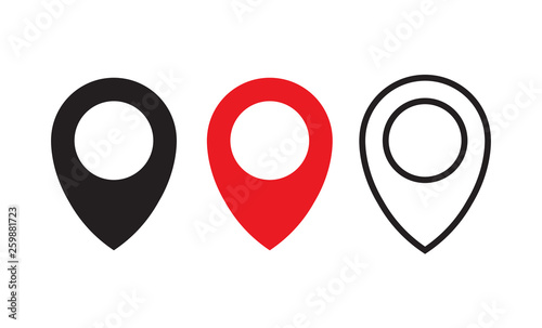 Valokuva  Red, black and line maps pin. Location map icon vector