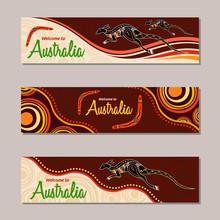 Horizontal Banner Templates In Australian Aboriginal Style.