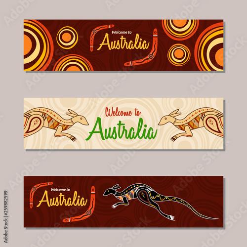 Horizontal banner templates in Australian aboriginal style. Wallpaper Mural