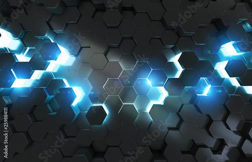 Świecące czarne tło wzór sześciokątów na metalowej powierzchni renderingu 3D