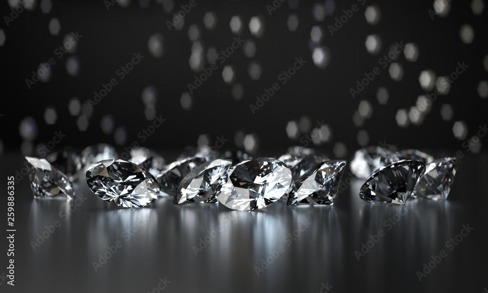 Fototapeta Group of Clear Diamonds and light bokeh background 3d rendering.