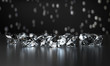 Group of Clear Diamonds and light bokeh background 3d rendering.