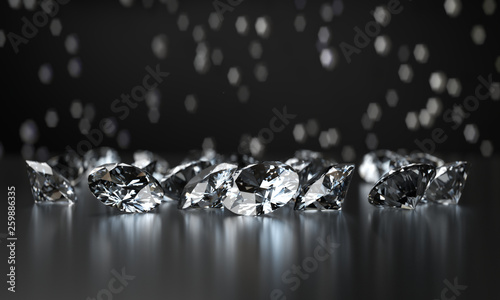 Group of Clear Diamonds and light bokeh background 3d rendering. Canvas Print