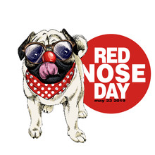 Red Nose Day Poster. Vector Ha...