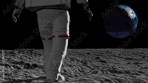 Fotobehang Nasa Astronaut walking on the moon and admiring the beautiful Earth. CG Animation. Elements of this image furnished by NASA. 3D rendering
