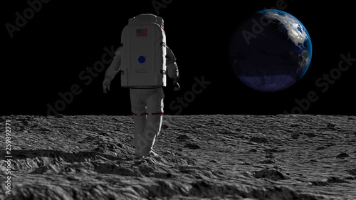 Foto op Aluminium Nasa Astronaut walking on the moon and admiring the beautiful Earth. CG Animation. Elements of this image furnished by NASA. 3D rendering