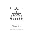 director icon vector from business partnership collection. Thin line director outline icon vector illustration. Outline, thin line director icon for website design and mobile, app development