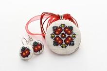 Handmade Cross Stitch Jewelry Set Red Flower