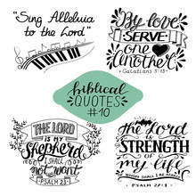 Collection 10 With Bible Verse Sing Alleluia To The Lord. By Love Serve One Another. Shepherd. Strength Of My Life