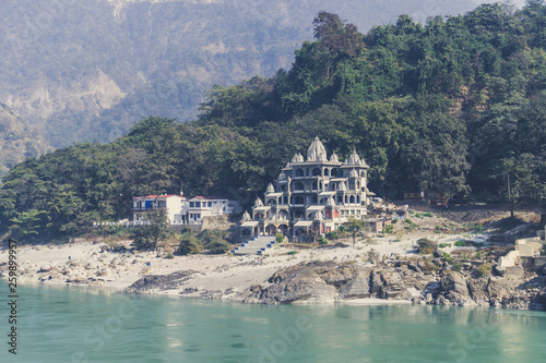 Old Ashram on the Bank of the Ganges river. Canvas Print