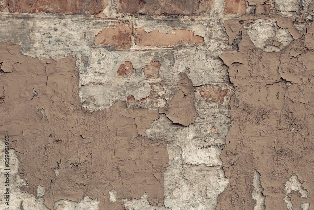 Wall Murals Peeling Beige Paint On A Brick Wall In Vintage Style