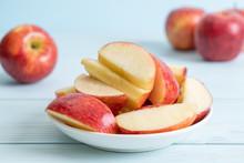 Fresh Red Apples Sliced Bowl
